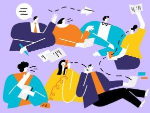 Illustration zeigt verschiedene Personen und Kommunikationsformen.